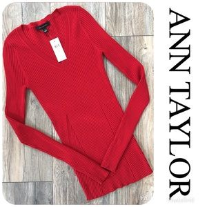 NWT ANN TAYLOR Long Sleeve Top Size XS Orig $79.50